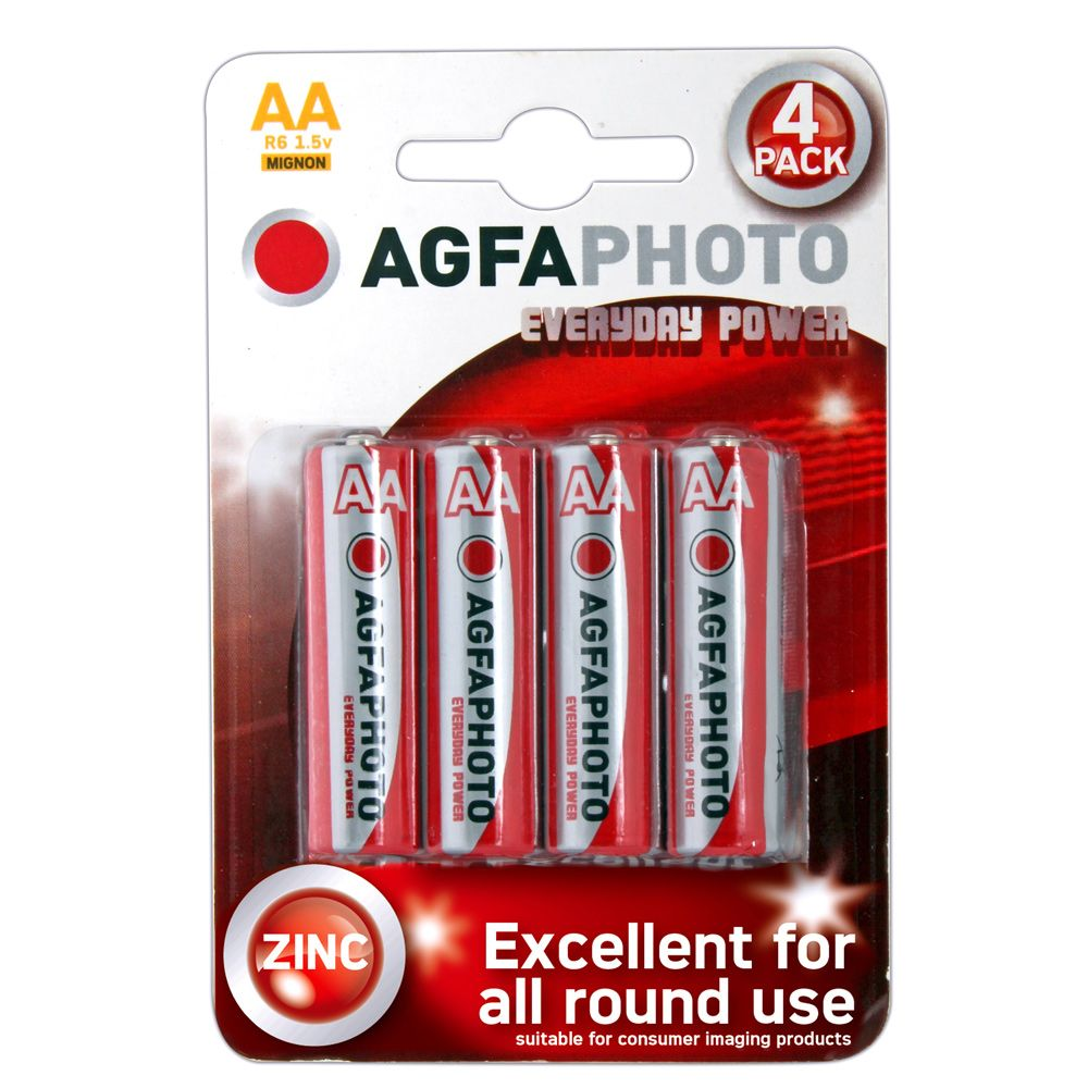 Agfa Agfa Aa Batteries 4 Batteries Per Card Red/White