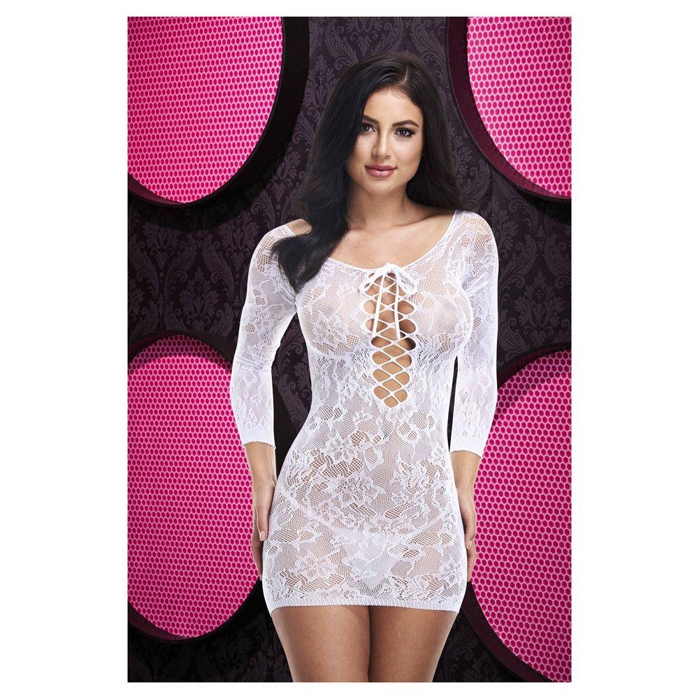 Lapdance LAce off the Shoulder Mini Dress White