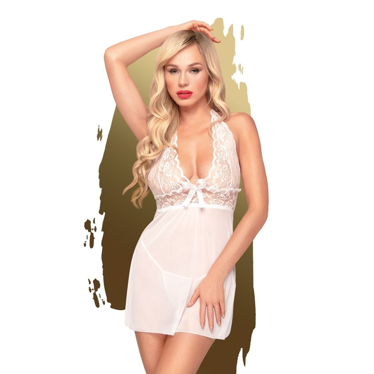 Penthouse Sweet and Spicy Negligee Set White L/XL