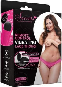 REMOTE CONTROLLED VIBRATING LACE THONG - PINK-QUEEN