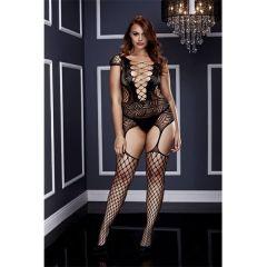 Baci Corset Front Suspender Net Bodysuit Black Queen