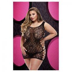Lapdance Leopard Lace Mini Dress High Neck X Black PS