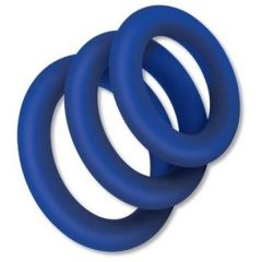 Zolo EXTRA THICK SILICONE COCK RING 3 PK Blue